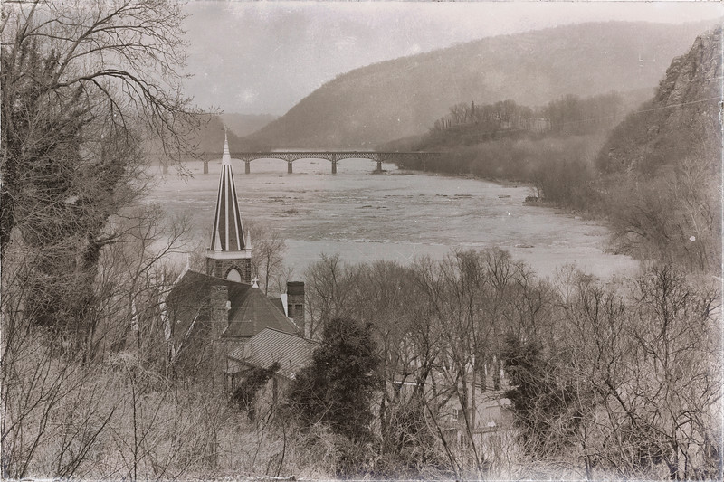 Confluence  of Shenandoah and Potomac Rivers at Harpers Ferry from Jefferson's Rock