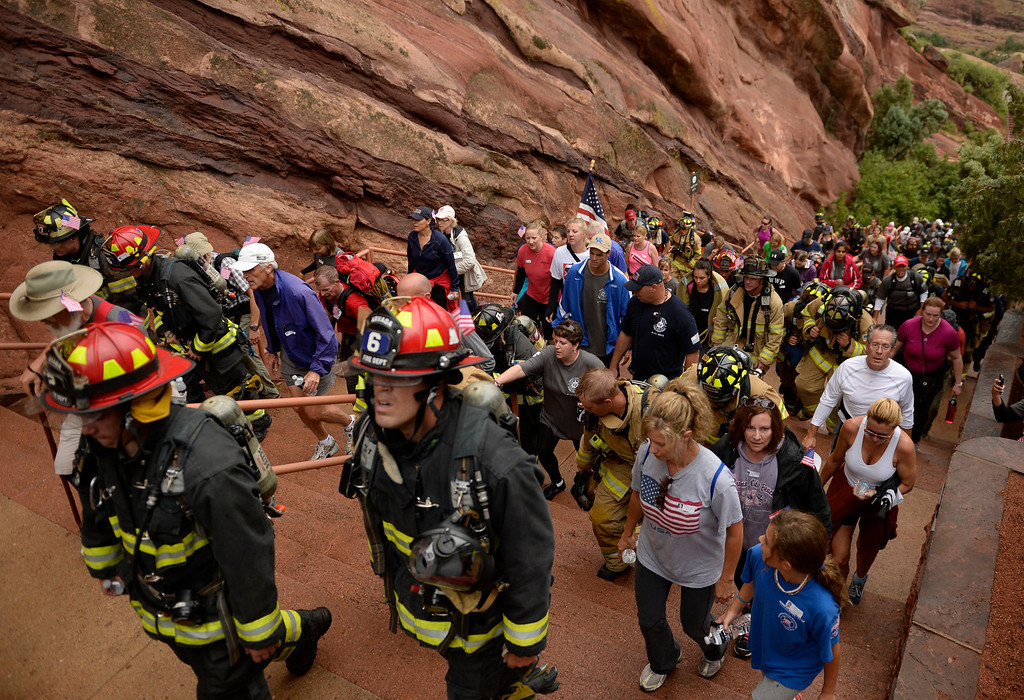 . Firefighters and community members gather at Red Rocks Amphitheater to honor the people and events of 9/11, September 11, 2013. The 911 (Photo By RJ Sangosti/The Denver Post)