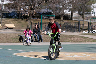 Riding bikes in Fitchburg, March 26, 2020