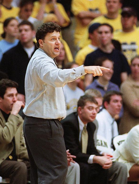 . File art from the Oakland University vs Michigan game 11-16-01.  Oalkand University head basketball coach  Greg Kampe.
