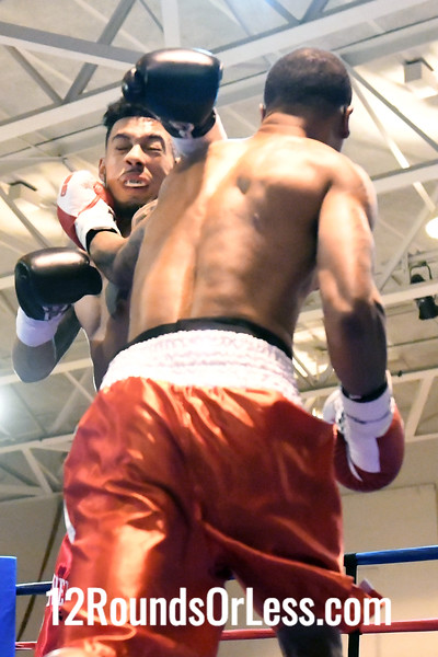 """Bout 2 Jose """"Loco"""" Rodriguez, Jr, Red&Blk Trunks, Akron -vs- William Davis, Red&Wht Trunks, Wood River, IL, Middleweight"""