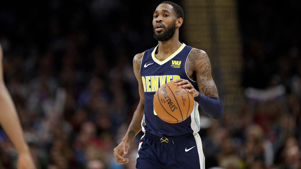 . Denver Nuggets\' Will Barton drives against the Cleveland Cavaliers in the second half of an NBA basketball game, Saturday, March 3, 2018, in Cleveland. (AP Photo/Tony Dejak)