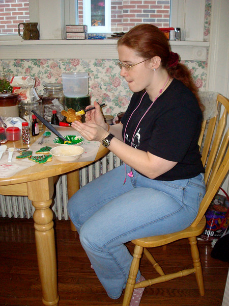Laura decorating Christmas cookies