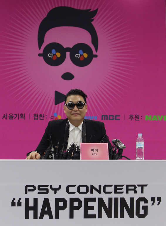 . SEOUL, SOUTH KOREA - APRIL 13:  Singer PSY attends a press conference before his concert to introduce his new single \'Gentleman\' at Olympic Stadium on April 13, 2013 in Seoul, South Korea.  (Photo by Chung Sung-Jun/Getty Images)