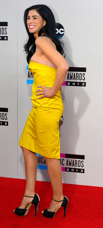 . Sarah Silverman arrives to the American Music Awards  at the Nokia Theatre in Los Angeles, California on Sunday November 24, 2013 (Photo by Andy Holzman / Los Angeles Daily News)