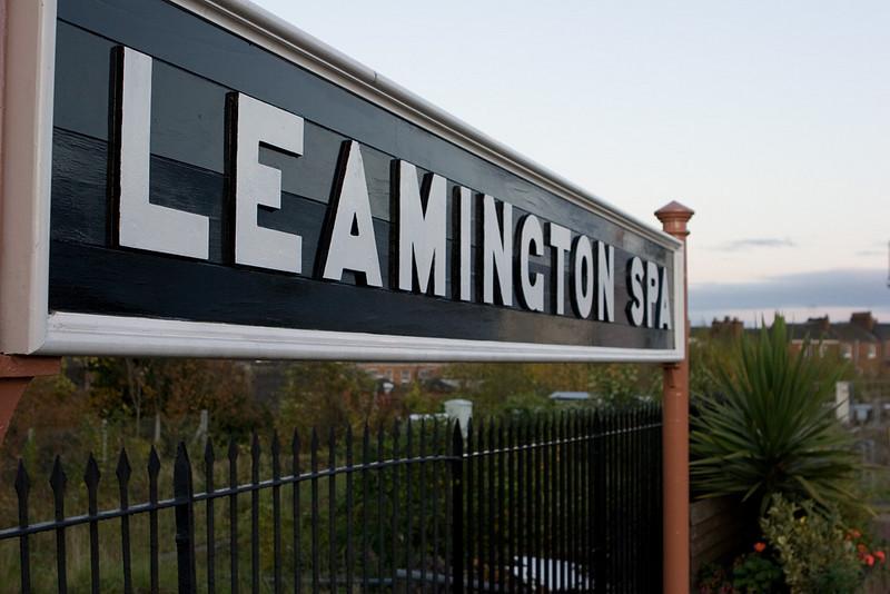 Leamington Spa station sign and a palm tree.