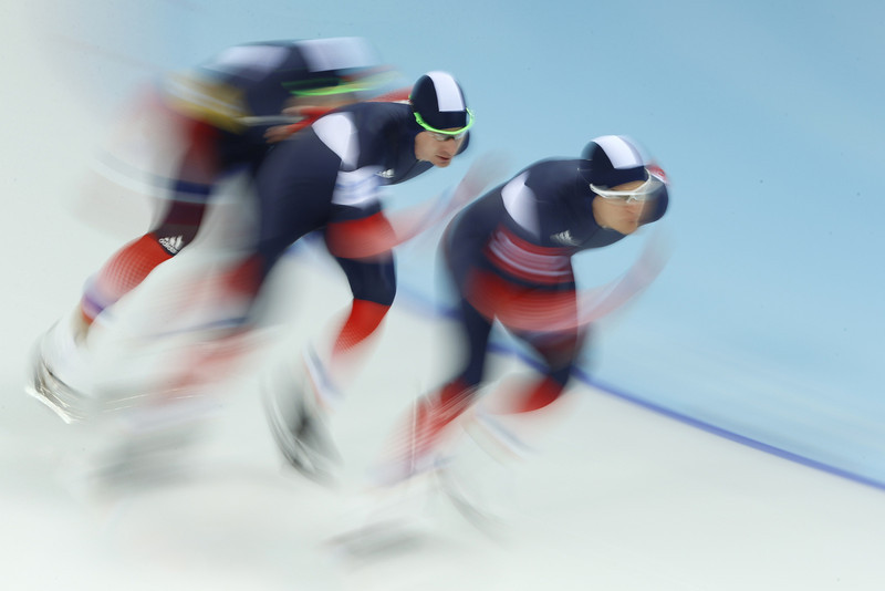 . (From L) France\'s Ewen Fernandez, France\'s Alexis Contin and France\'s Benjamin Mace compete in the Men\'s Speed Skating Team Pursuit Quarterfinals at the Adler Arena during the Sochi Winter Olympics on February 21, 2014. (ADRIAN DENNIS/AFP/Getty Images)