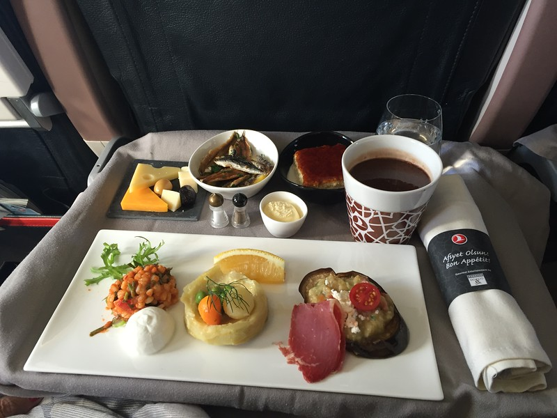 Appetizer course on Turkish Airline.