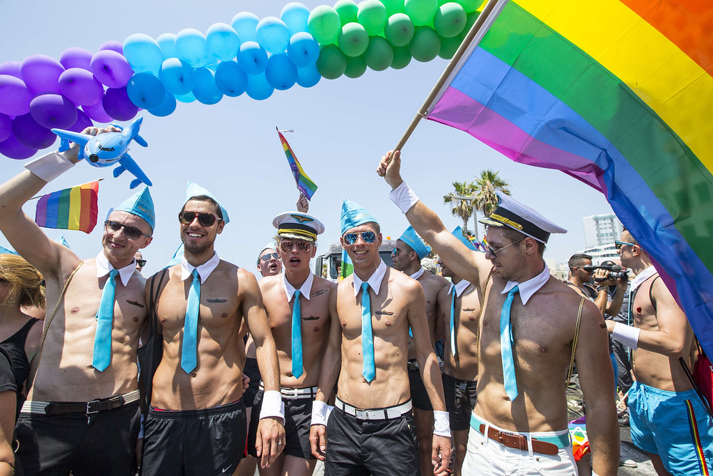 . Russian tourists attend the annual gay pride parade in the Israeli coastal city of Tel Aviv on June 13, 2014. AFP PHOTO/JACK GUEZ/AFP/Getty Images
