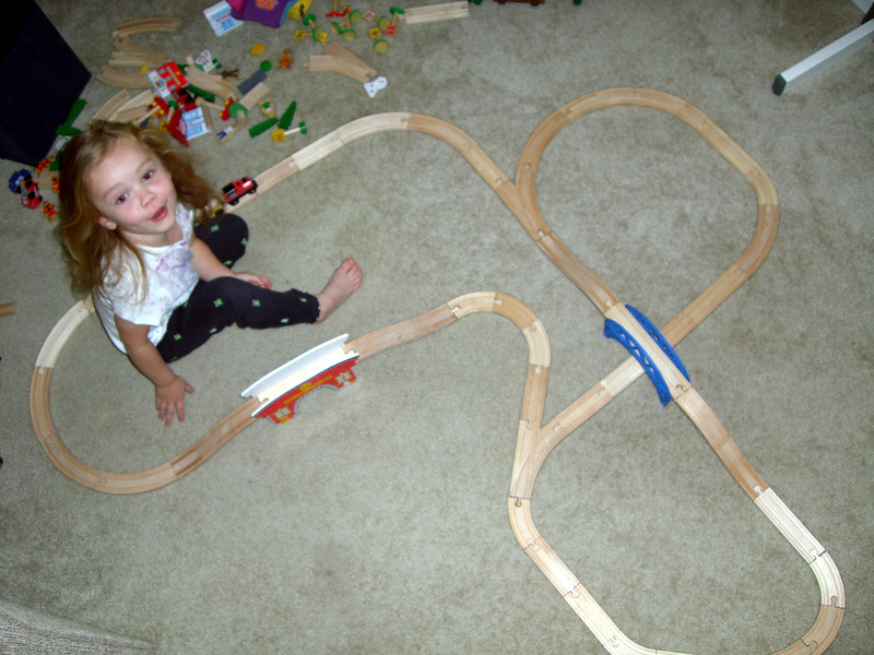 Top view of the large train track design.