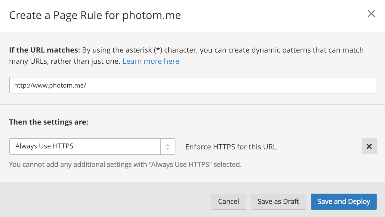 Always Use HTTPS rule - Cloud Flare