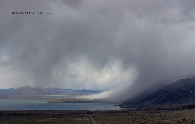 Snow flurries downdraft - Mono Lake.  Approaching late season storm from the Pacific. 5-25-2012.  This was taken from Conway Pass about 1500' higher than the lake.