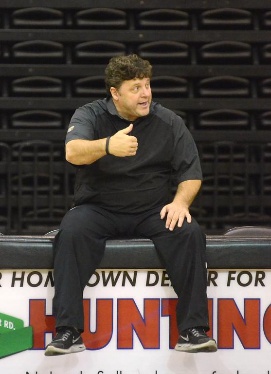. Oakland University head coach Greg Kampe during practice Tuesday.    Tuesday, November 5, 2013.  The Oakland Press/TIM THOMPSON