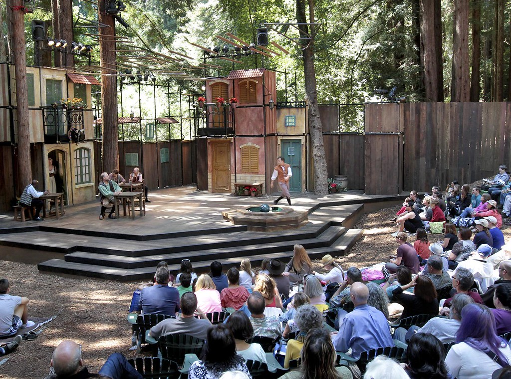 ". Actors perform in the Shakespeare Santa Cruz staging of ""The Taming of the Shrew\"" in the festival\'s trademark Stanley-Sinsheimer Festival Glen at UC Santa Cruz. (Shmuel Thaler/Sentinel file)"