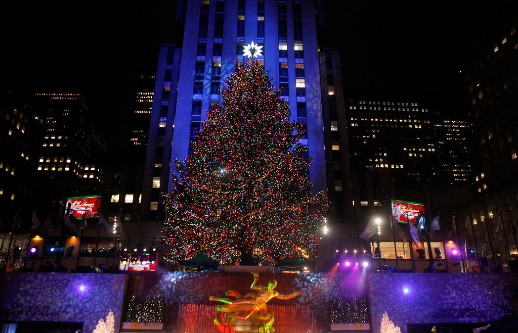 . The Rockefeller Center Christmas tree stands lit during the 78th annual lighting ceremony Tuesday, Nov. 30, 2010, in New York. (AP Photo/Jason DeCrow)