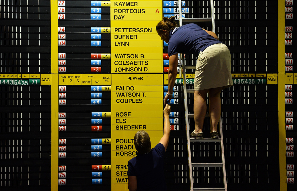 . Scorers update the leader board in the media centre during the second round of the 2013 British Open Golf Championship at Muirfield golf course at Gullane in Scotland on July 19, 2013.  PAUL ELLIS/AFP/Getty Images
