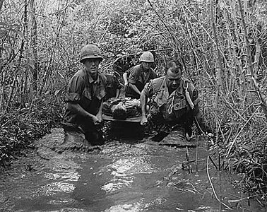 Soldiers carry a wounded comrade through a swampy area, 1969.