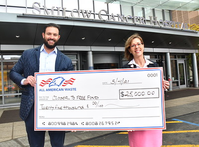 All American Waste Check Presentation at the Smilow Cancer Hospital - May 4, 2021