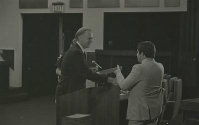 Mayor Hudnut Presents IPD Awards at City-County Council Chamber, Circa 1977, Img. 2