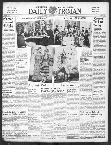 Daily Trojan, Vol. 29, No. 48, November 29, 1937
