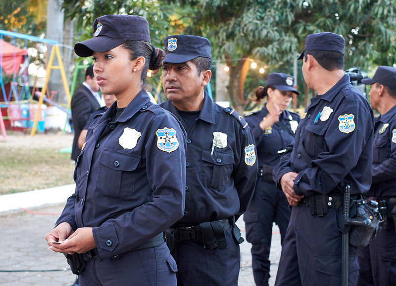 Election day in Santa Ana: <br /> For the first time in El Salvadoran history, police are allowed to vote in the precincts where they are assigned for election day.  They line up to vote before the polls are opened to the public.
