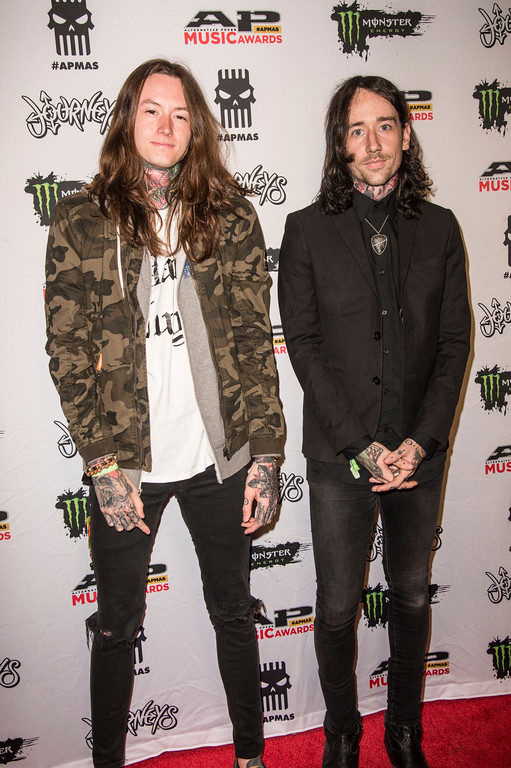 . Noah Sebastian, left, and Vincent Riquier of Bad Omens seen at 2017 Alternative Press Music Awards at the KeyBank State Theatre on Monday, July 17, 2017, in Cleveland. (Photo by Amy Harris/Invision/AP)