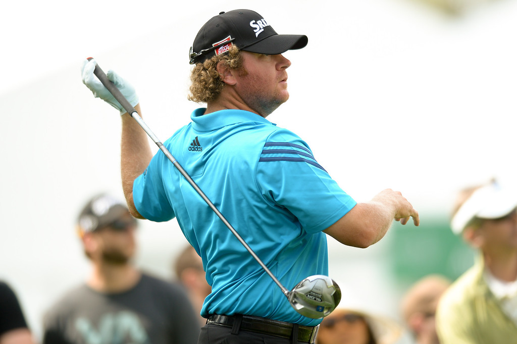. William McGirt follows through on a tee shot from the ninth hole during the third round of the Northern Trust Open, Saturday, February 15, 2014, at Riviera Country Club. (Photo by Michael Owen Baker/L.A. Daily News)