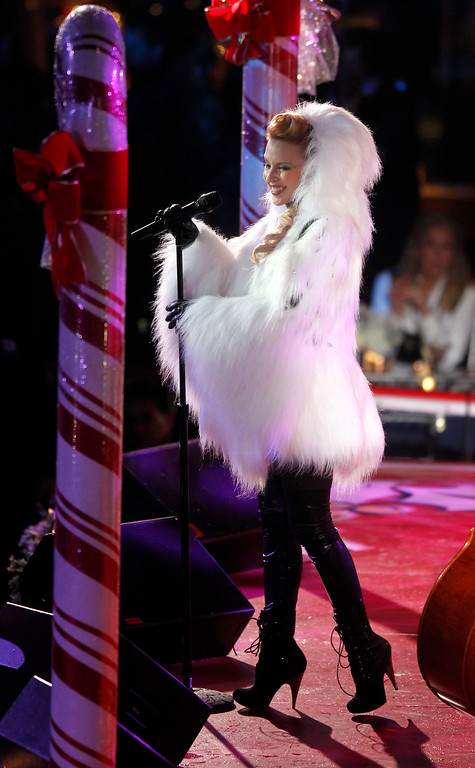. Singer Kylie Minogue performs during the 78th annual Rockefeller Center Christmas tree lighting ceremony Tuesday, Nov. 30, 2010, in New York. (AP Photo/Jason DeCrow)