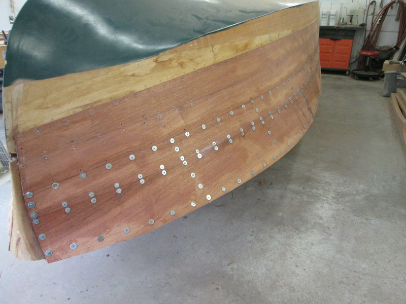 Front starboard view of the last two planks installed.