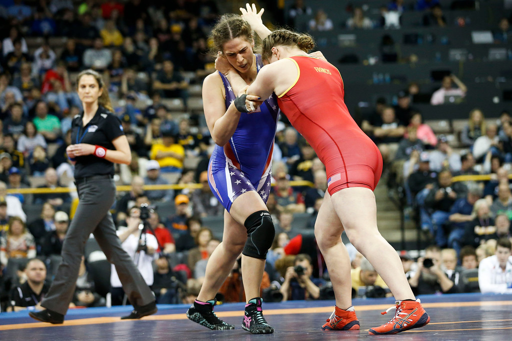 . Denver\'s Adeline Gray competes against Victoria Francis in their second bout in the championship round at the 2016 U.S. Olympic Trials at Carver-Hawkeye Arena in Iowa City, Iowa on Sunday, April 10, 2016. The three-time world champion hopes to become the first American woman to win an Olympic gold medal in Rio this summer. Gray won the bout by decision 10-0, earning a spot on the United States Olympic Team. (Rebecca F. Miller for The Denver Post)