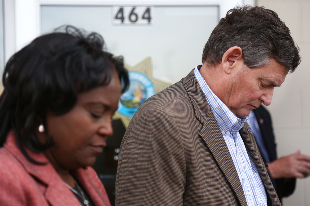 . California State University Chancellor Timothy White (R) and Los Angeles Unified School District Senior Deputy Superindendent Michelle King (L) listen during a press conference on April 11, 2014 in Willows, California. Ten people were killed and dozens injured, including four still in critical condition, after a FedEx truck collided with a bus of high school students on Interstate 5 yesterday near Orford, California. The students were on their way to visit Humboldt State University in Northern California. (Photo by Elijah Nouvelage/Getty Images)