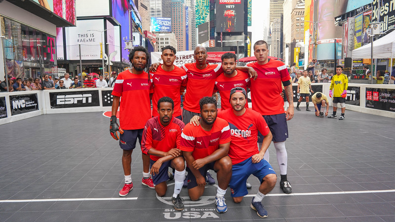 2018 Arsenal Soccer School game in Times Sq