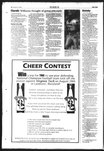 Daily Trojan, Vol. 151, No. 19, February 10, 2004