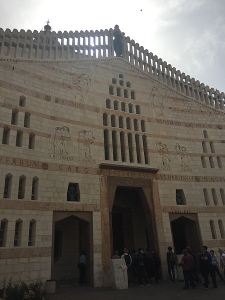 Basilica of the Annunciation in Nazareth. The church stands in the site where the Virgin Mary received the news from Gabriel that she would give birth to Jesus.- Bridget St. Clair