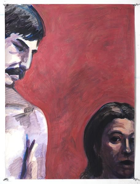 Jeff and Elaine; acrylic on paper, 22 x 30 in, 2000
