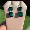 Georgian Double Drop Emerald Paste Earrings 11