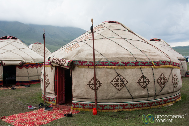 Yurts in a Row at Kyrchyn Jailoo, Cultural Festival - World Nomad Games, Kyrgyzstan
