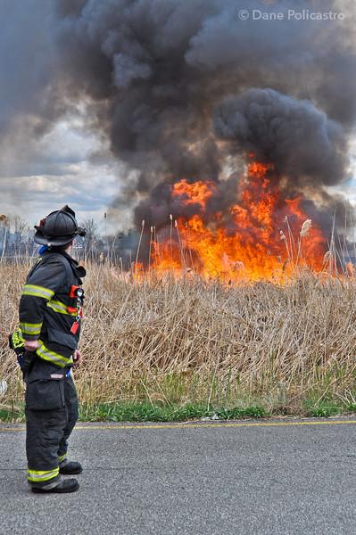 4-11-12 Carlstadt, NJ Multiple Alarm Brush Fire: New Jersey Turnpike & Paterson Plank Road