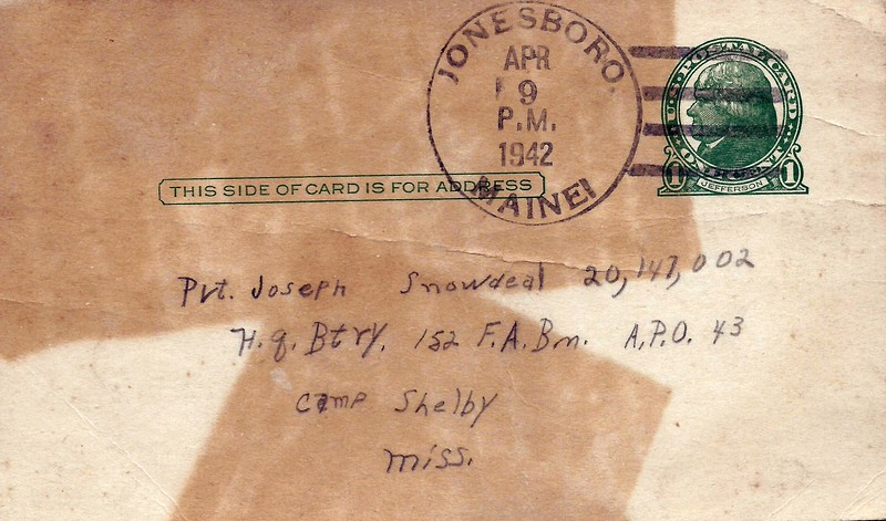 To Joseph Snowdeal from brotehr Eric Snowdeal Apr 9 1942