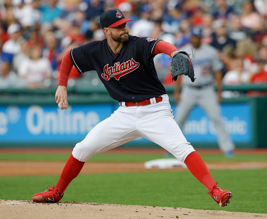 . Cleveland Indians starting pitcher Corey Kluber winds up during the first inning of the team\'s baseball game against the Los Angeles Dodgers, Wednesday, June 14, 2017, in Cleveland. (AP Photo/Tony Dejak)