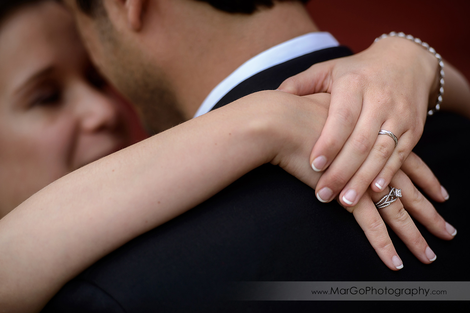 close-up of bride's hands during first dance at wedding reception at Fremont Century House & Gardens