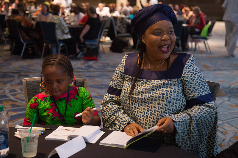 Grace Gathering. Keynote Speaker Leymah Gbowee and her daughter.
