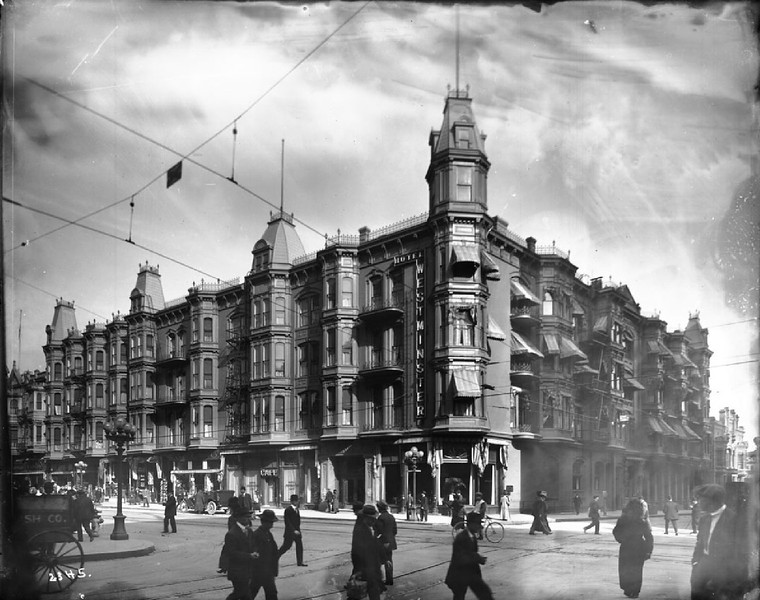 Exterior of the Westminster Hotel on the corner of Fourth Street and Main Street, Los Angeles, ca.1900