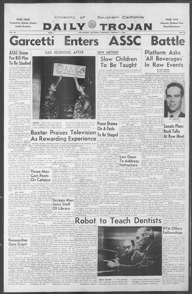 Daily Trojan, Vol. 53, No. 64, February 07, 1962