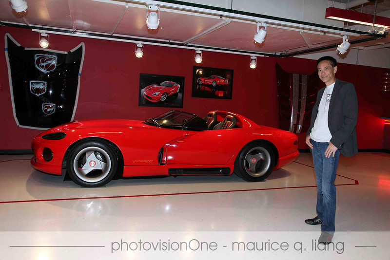 """Viper Cafe """"Founder"""", Maurice Liang, poses with the Viper that started it all for him, the 1989 Viper Concept car."""