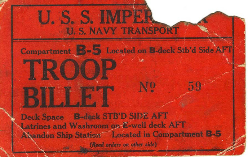 1918 - Troop Billet 1  The troop billet card that Carl Duncan had on his trip overseas in WWI, which showed him where he was berthed on the ship (or billeted, as they say in the military).