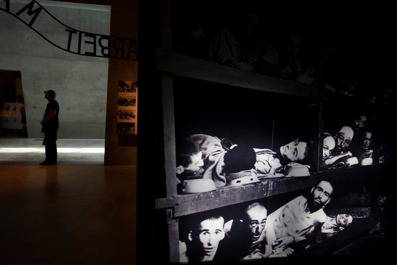 . A visitor looks at an installation at Yad Vashem\'s Holocaust History Museum in Jerusalem on April 7, 2013. Starting Sunday evening, Israel marks the annual memorial day commemorating the six million Jews killed by the Nazis in the Holocaust during World War Two. REUTERS/Ronen Zvulun