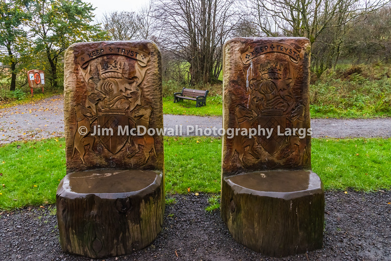 Wooden hand carvings from Logs Castle Semple Scotland.