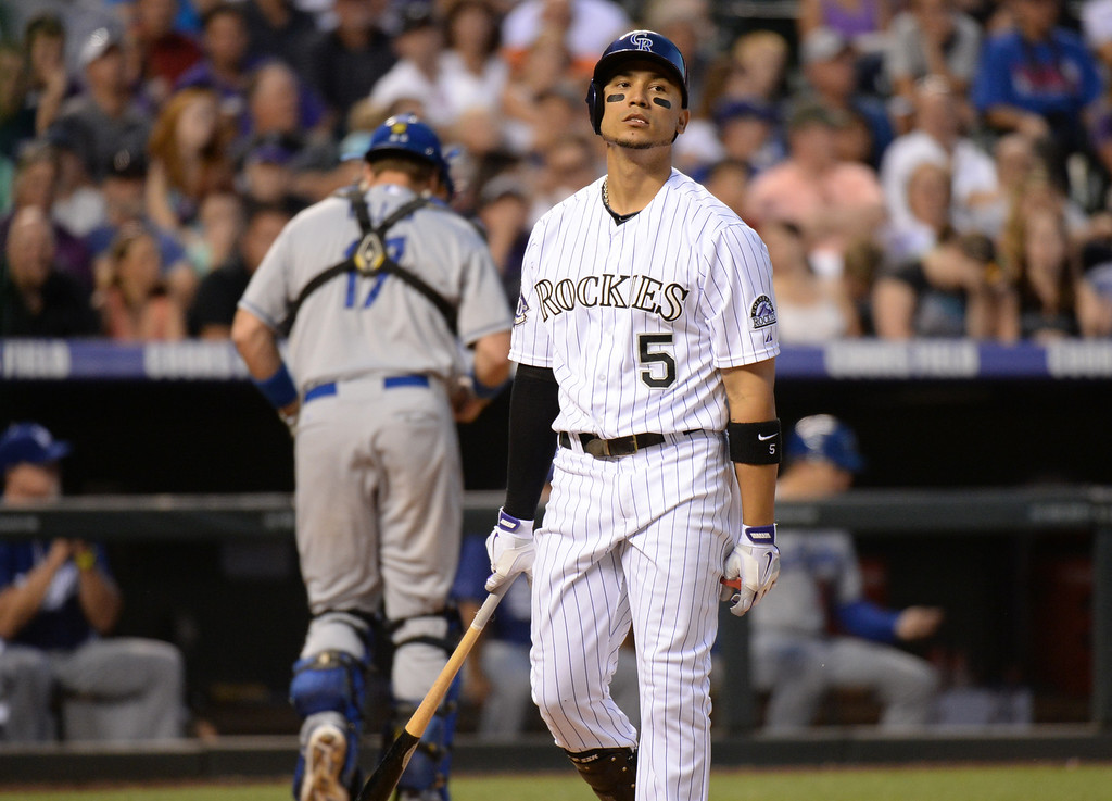 . DENVER, CO. - July 03: Carlos Gonzalez of Colorado Rockies (5) strike out by swinging in the 6th inning of the game against Los Angeles Dodgers at Coors Field. Denver, Colorado. July 3, 2013. Los Angeles won 10-8. (Photo By Hyoung Chang/The Denver Post)