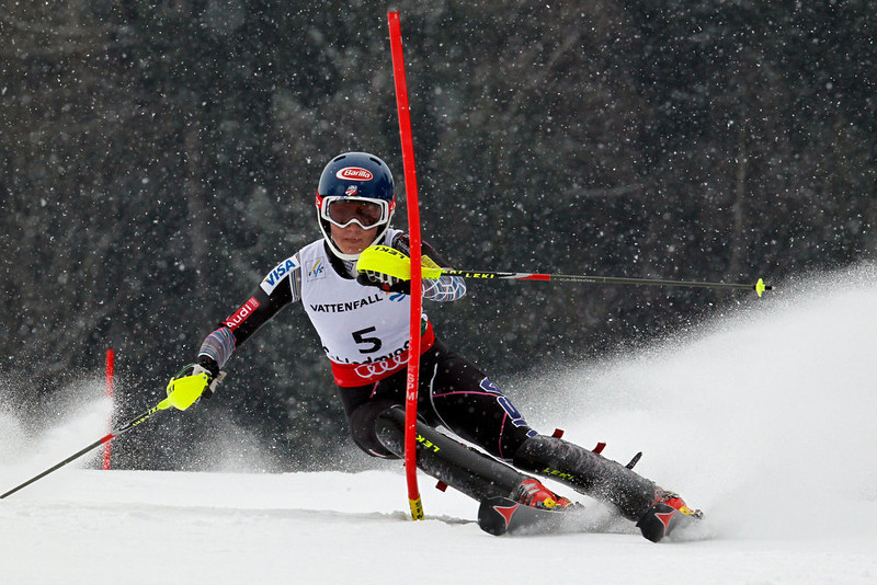 . Mikaela Shiffrin of the USA competes during the Audi FIS Alpine Ski World Championships Women\'s Slalom on February 16, 2013 in Schladming, Austria. (Photo by Christophe Pallot/Agence Zoom/Getty Images)
